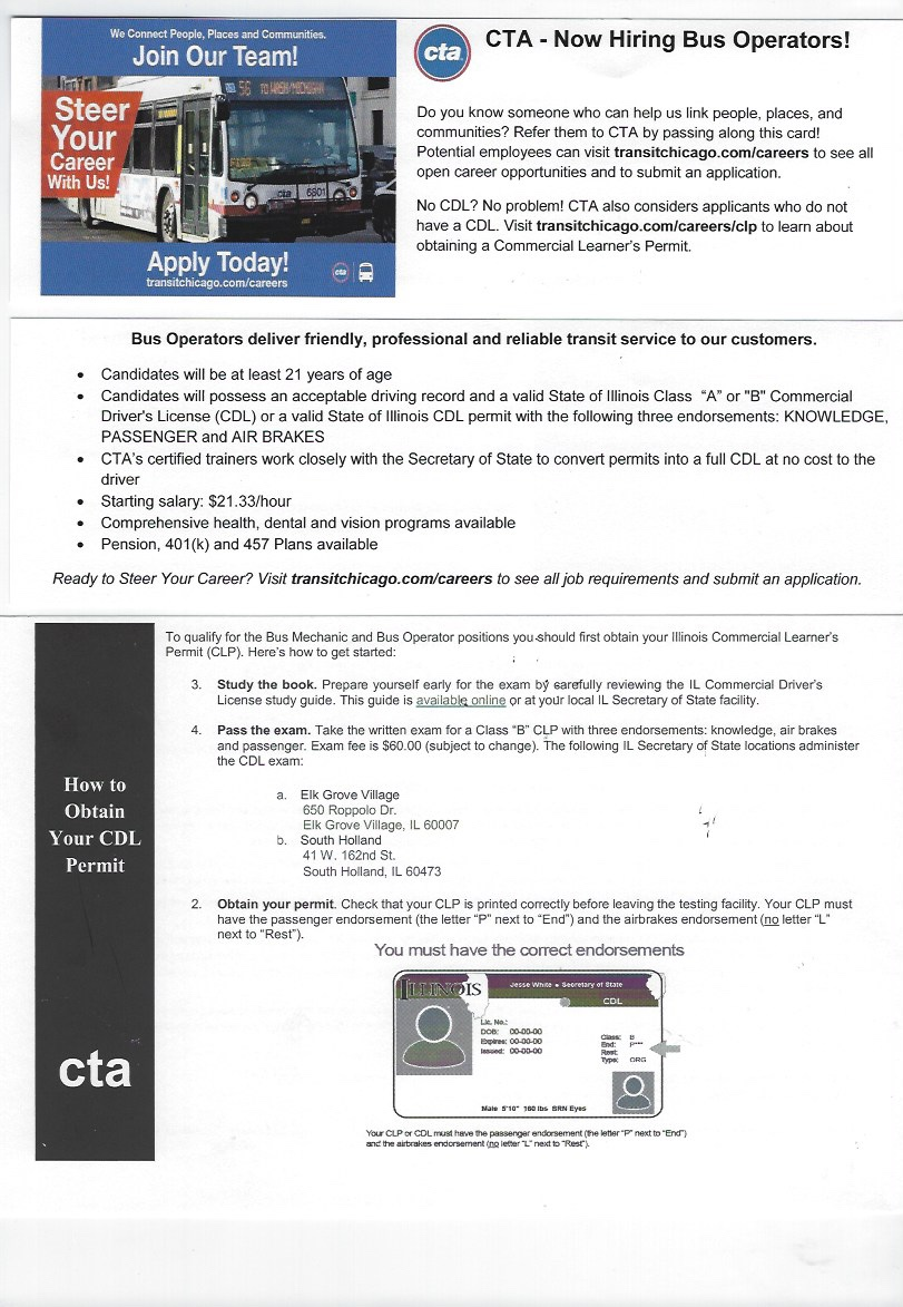 CTA – How Hiring Bus Operators — RNRA Chicago Dot Medical Exam Form For Cl B on